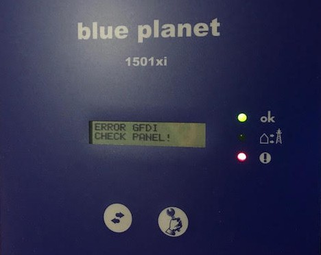 Picture of a Kaco inverter showing a Ground Fault message and an error light.